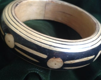 Tribal Design Wood Bangle Bracelet