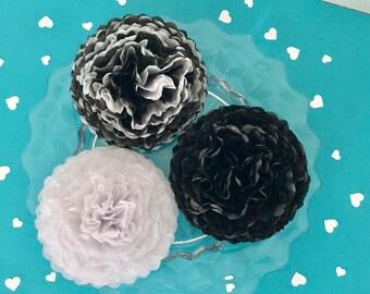 Tissue Paper Flower Mums - Set of 12 - Black, White, Black/ White