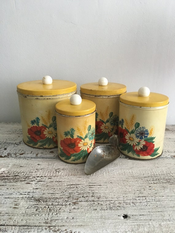 set of vintage kitchen canister mid century kitchen storage
