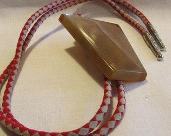 Agate Bolo Tie with Cloth Cord