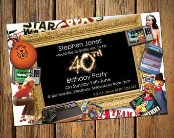 440th Birthday Personalised Party Invitations 80s