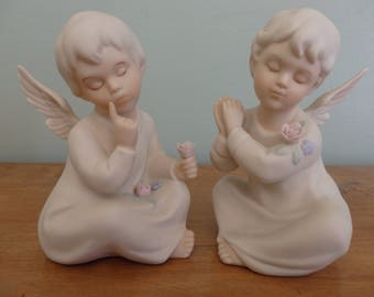 Vintage Angels set of two made by Homco and dated 1991