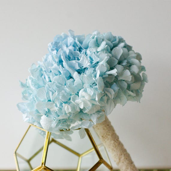 Light Blue hydrangea bouquet, bridesmaids, preserved, dried flowers, real flowers, sky blue, serenity blue, bridal bouquet, wedding bouquet
