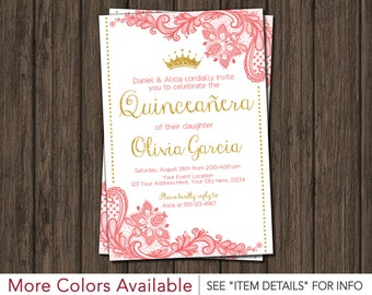 Quinceanera Invitation • Princess, Lace, Coral and Gold • Quinceañera Invitations