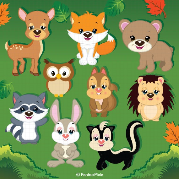 Woodland animals clipart Animal clipart Cute animals