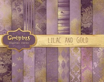 Lilac and Gold Digital Paper, vintage grunge distressed shabby chic purple and gold backgrounds, ...