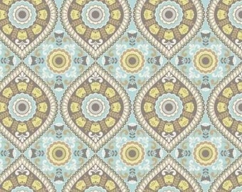 "Ethnic Folk Light Teal by David Textiles Happiness Collection 44"" Quilting Cotton"