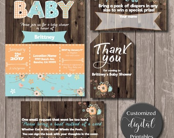 Rustic Teal and Orange Baby shower invitation - DOWNLOAD