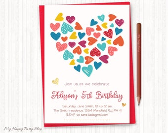 Hearts Birthday Invitation, Rainbow Hearts Birthday, Girl Birthday Invitation, PRINTABLE - KG008
