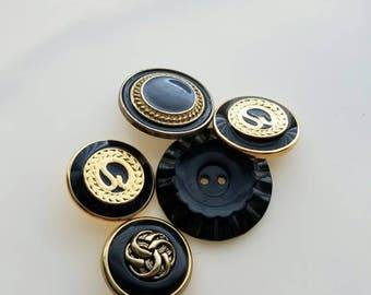 Vintage fancy black, navy, and gold trim buttons. Lot of 5. (Mar5)