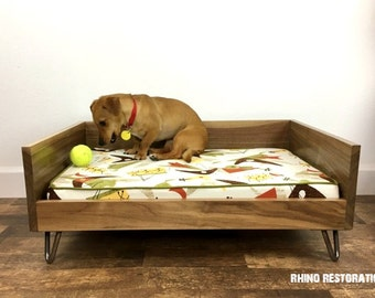 Dark Walnut Pet Bed with Mid Century Modern Lines - Solid Wood - Steel Hairpin Legs - Hand Crafted - High Back -