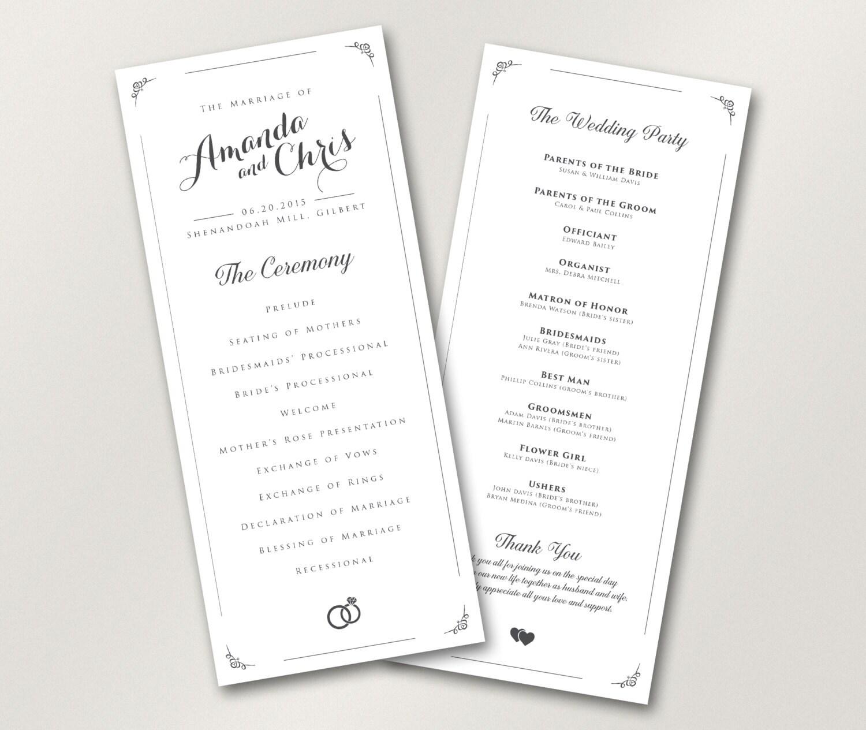 Catholic Wedding Ceremony Program: Wedding Program // Elegant Wedding Program // Catholic Wedding