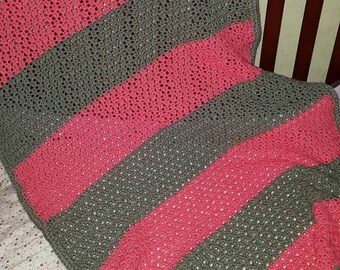READY TO SHIP. Pink and gray toddler afghan blanket, very warm and soft.