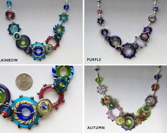 Glass Necklace - Spirograph Collection: handmade glass lampwork beads with sterling silver components