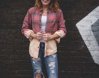 Small  pink, blue and cream bleached flannel