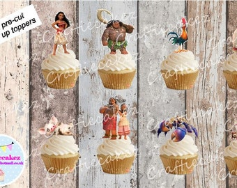 24 x Pre Cut Edible Moana Stand Up Cupcake Toppers
