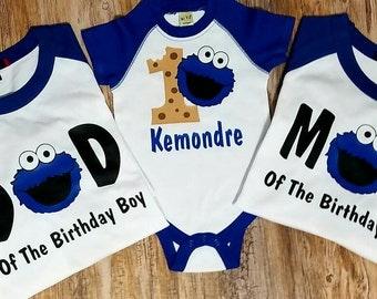 Set of 3 Family Cookie Monster Birthday Shirts 1st, 2nd , 3rd Birthday Vinyl Raglan Baseball Shirts