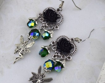 Faery Rose - Green and Antique Silver fairy earrings - fantasy rose earrings - elegant fairy earrings