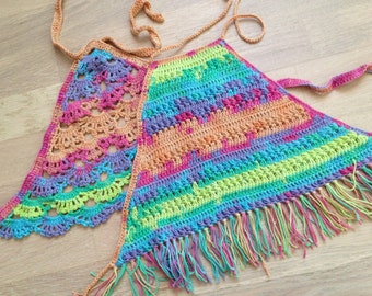 Set of two rainbow crochet top/ Crochet Toddler Crop Top/ Baby Crochet halter top/ Crochet toddler bohemian top/ Girl crochet festival top