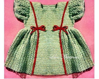 Crochet DRESS Pattern Vintage 40s baby Girl Dress Pattern Crochet baby Dress Pattern Crochet Newborn Dress Pattern