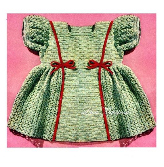 Vintage Crochet Baby Dress Pattern : Crochet DRESS Pattern Vintage 40s baby Girl Dress Pattern