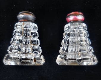Brilliant Cut Glass Salt & Pepper Shakers with Mother of Pearl Caps
