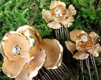 Gold Flower Combs Rhinestone Center Hair Set  Bridal Wedding