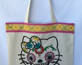 Kitty Cat Day Of The Dead Tote Bag. Calavera Gato Hand Hand Painted Tote Bag. Cat Design Shoulder Bag. Day Of The Dead Cat Canvas Bag. Gift