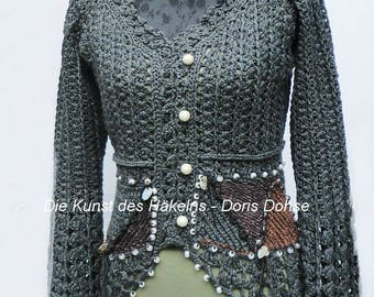Crochet jacket, jacket in the Haute Couture crochet style, vintage, and boho look in graphite grey-brown, with pearls, exclusive dress