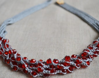 Cotton necklace with red glass crystal beads Multi strand necklace Crochet beaded necklace