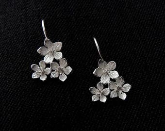 Fine Blossom Earrings - silver