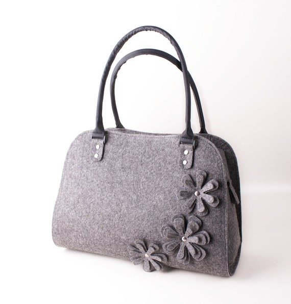 Felted flower bag Ladies felt purse Floral felted bag Womens