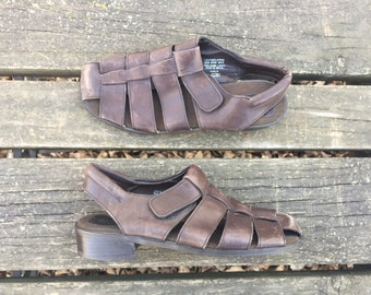 Sandals - Size 8.5 Brown Leather Strappy Shoes Gladiator Heels Made in Brazil Enzo Angiolini Womens 8 1/2