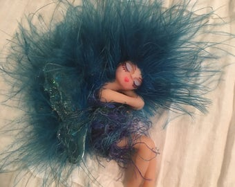 OOAK Fairy Faerie Handmade Polymer Clay sleeping Teal Art Doll