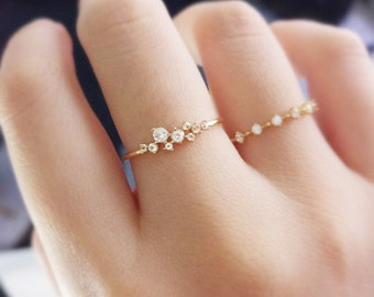 18K gold ring,Petite Diamond Zircon Engagement Ring, Princess Engagement, Simple Gold Ring,slender delicate ring