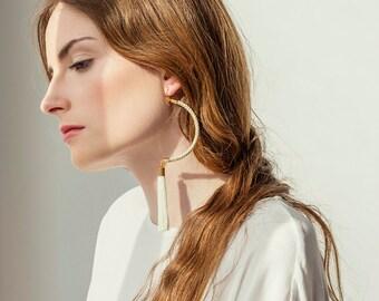 Modern Earrings, Statement Earrings, Tassel Earrings, Cord Earrings, Rope Earrings, Dangle Earrings, Bohemian Earrings, Spring Jewelry