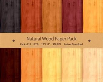 Wood Digital Paper Natural Wood Grain Texture Real Wood Oak Beech Walnut Chestnut Wood Backdrop Background Image Wood Scrapbook Paper Rustic