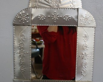 Hand Made Stamped Tin Southwestern Mirror Signed