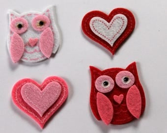 Felt heart and owl set