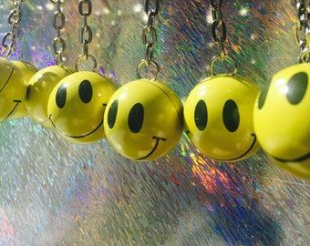 90's smiley face dangle drop earrings rave acid cyber grunge festival vintage nostalgia