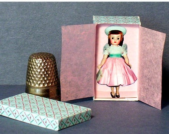 Maggie Mix-Up Doll Box -  Dollhouse Miniature - 1:12 scale Dollhouse Accessory - 1950s retro Dollhouse girl toy - Miniature box replica