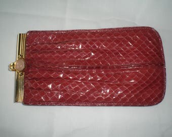 Vintage Judith Leiber Rich Red Pouch Change Purse Eyeglass case with a Pink Cabochon Clasp Karung?