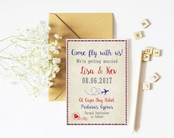 Save The Date - Travel- Destination Wedding - Come Fly With Us - Personalised
