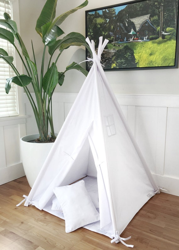 Small Size Children's Play Tent Teepee Handmade for Kids in White Twill. Each Comes with Padded Mat Base and Two Pillows