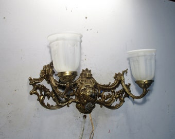 Antique Vintage Sconce Bronze 2 Light Glass lamp can face up or down