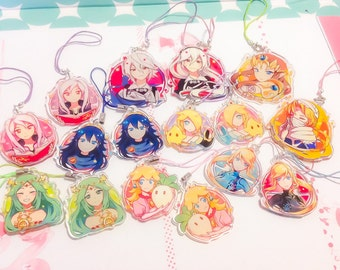 Smash Bros Waifu Charms Clear Acrylic 1.5-2inch Double-Sided