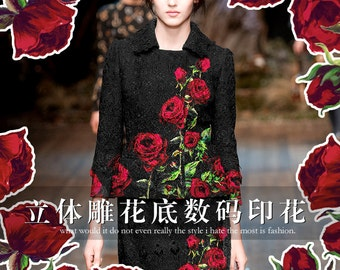 140*75CM 380G/M Weight Red Rose Jacquard Black Autumn and Winter Jacket Dress Fabric E268