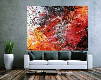 XXL abstract painting 150x200cm modern acrylic art on canvas and frame #168
