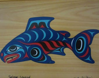 "Joe Wilson's Legend Salmon Box - Cost Salish art work in vibrant colors. Light wood  10.1/8"" x 7.1/2"" x 1.1/2"". Great Fathers' Day Gift!"