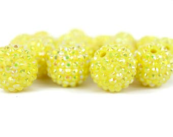 Sunshine Yellow AB rhinestone chunky bead bubblegum bead necklace chunky necklace wholesale 20mm beads